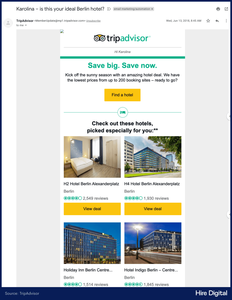 TripAdvisor Personalized Email Newsletter