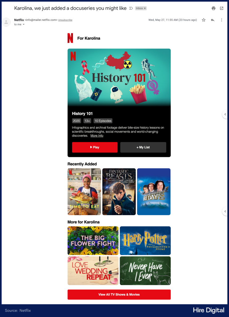 Netflix Personalized Email Newsletter